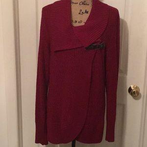 🌟EUC One A Women's Clasp Cardigan Brick Red Sz:XL